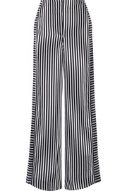 Jones striped satin and crepe wide-leg pants