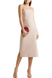Elizabeth and James Sierra strapless satin-trimmed crepe midi dress