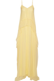 Elizabeth and James Catriona ruffled silk-crepon gown