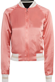 Willa reversible embroidered satin and twill bomber jacket