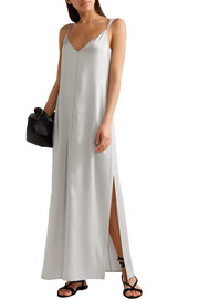 Pearl crepe-trimmed satin maxi dress