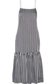 Jewel striped satin and crepe midi dress