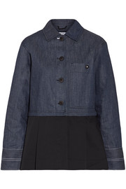 Elizabeth and James York paneled pleated cotton-poplin and denim jacket