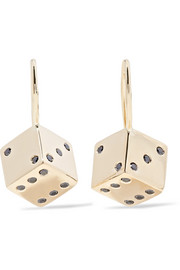 Alison Lou + Hasbro Small Dice 14-karat gold diamond earrings