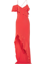 Asymmetric ruffled silk crepe de chine gown