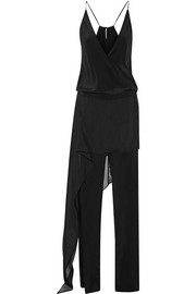 Michelle Mason Layered chiffon-trimmed silk-georgette jumpsuit