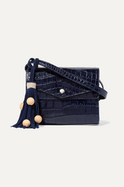 Elizabeth and James Eloise croc-effect glossed-leather shoulder bag