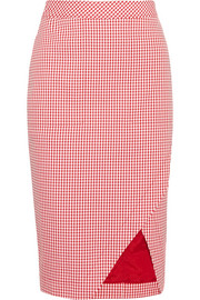 Wilcox gingham cotton-blend wrap-effect skirt