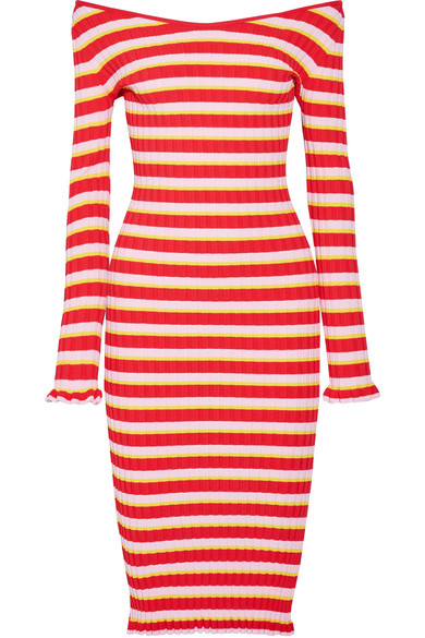 Altuzarra - Socorro Off-the-shoulder Striped Stretch-knit Dress - Red