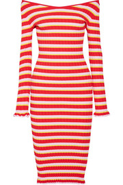 Altuzarra Socorro off-the-shoulder striped stretch-knit dress
