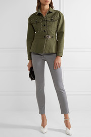 Altuzarra Snake-effect leather-trimmed stretch-cotton gabardine jacket