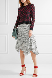 Tucson ruffle-trimmed printed silk crepe de chine skirt