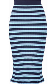 Bloomfield striped ribbed stretch-knit midi skirt