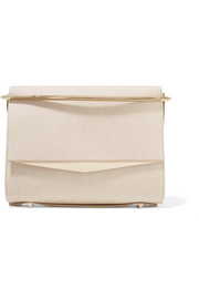 Boyd small leather-trimmed cotton-canvas clutch