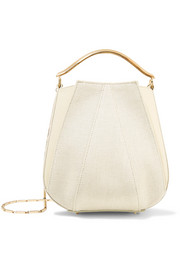 Pepper mini paneled canvas and leather shoulder bag