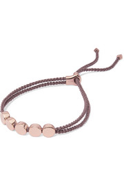Monica Vinader Linear Bead rose gold vermeil and woven bracelet