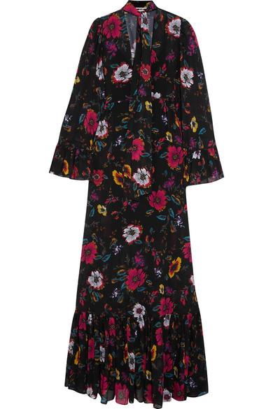 McQ Alexander McQueen - Pussy-bow Printed Chiffon Maxi Dress - Black