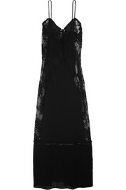 Lace-paneled chiffon maxi dress