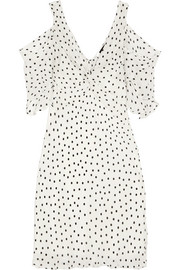 Cold-shoulder polka-dot georgette mini dress