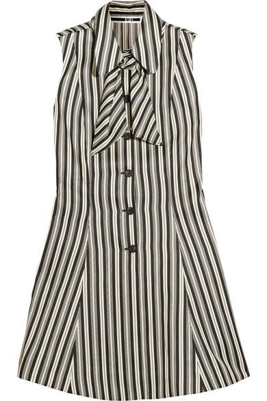 McQ Alexander McQueen - Pussy-bow Striped Satin-twill Mini Dress - White