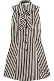 Pussy-bow striped satin-twill mini dress