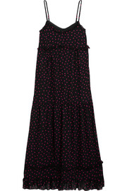 Ruffled polka-dot georgette midi dress