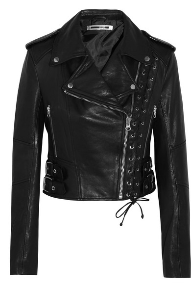 McQ Alexander McQueen - Lace-up Leather Biker Jacket - Black
