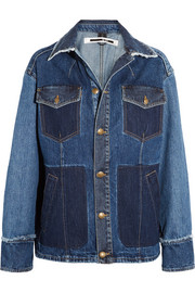 Patchwork frayed denim jacket