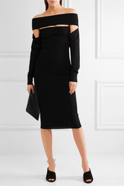 Off-the-shoulder cutout stretch-knit dress