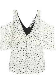 Cold-shoulder polka-dot georgette and satin top