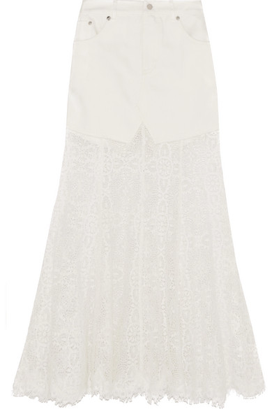 McQ Alexander McQueen - Denim And Lace Skirt - Ivory