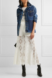 Denim and lace skirt