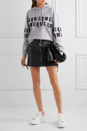 Lace-up leather mini skirt