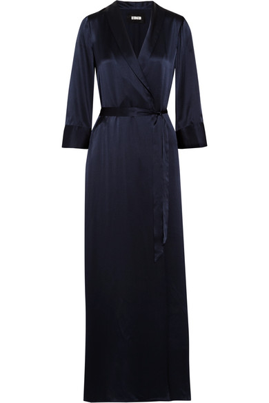 Reformation - Silk Wrap Maxi Dress - Navy