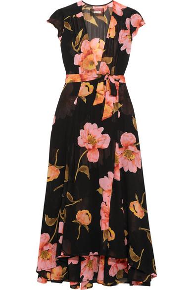 Reformation - Floral-print Georgette Wrap Dress - Black