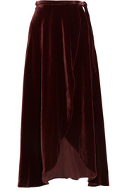 Reformation Velvet wrap skirt