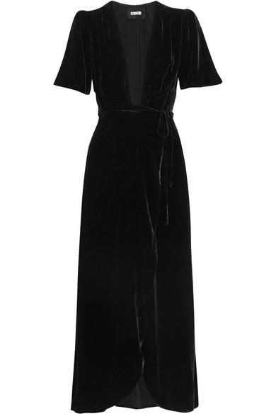 Reformation - Velvet Wrap Dress - Black