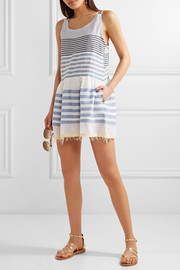 Fringed striped cotton-blend gauze mini dress