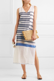 Aziza striped cotton-blend gauze midi dress