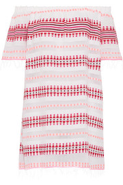 Tabtab off-the-shoulder striped cotton-blend gauze mini dress
