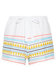 Tabtab striped cotton-blend gauze shorts