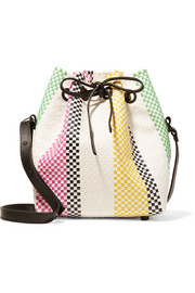 Stripe leather-trimmed woven raffia-effect bucket bag