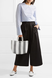 Striped small leather-trimmed woven raffia-effect tote