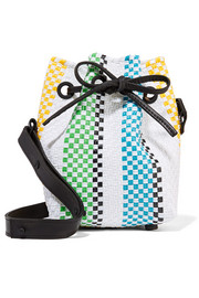 Stripe mini woven raffia-effect bucket bag