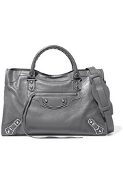 Metallic Edge City textured-leather shoulder bag