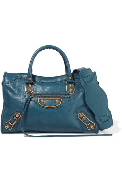 balenciaga female balenciaga metallic edge city texturedleather shoulder bag blue