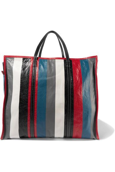 Balenciaga - Bazar Xl Striped Textured-leather Tote - Gray