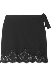 Lace-trimmed stretch mini skirt