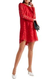 Asymmetric cotton-blend corded lace mini dress