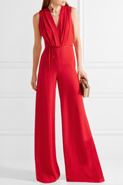 Adam Lippes Belted pleated crepe jumpsuit